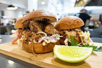 Pulled pork burgers served at 22 BUttercup Lane, Proserpine, Whitsundays