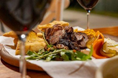 lamb and wine at Paradiso Rooftop Bar, Airlie Beach, Whitsundays