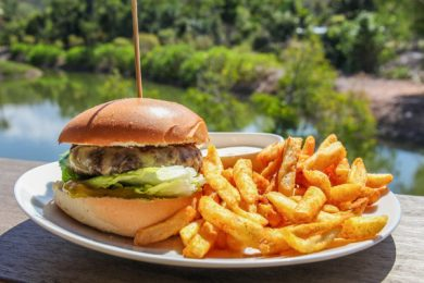 bacon, beef, cheese and egg burger by  Northerlies Beach Bar & Grill, Airlie Beach