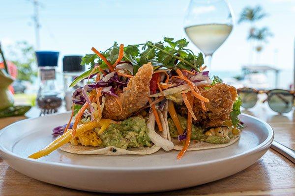 Spanish Beans w' Added haloumi at Fat Frog Beach Cafe, Cannonvale, Whitsundays