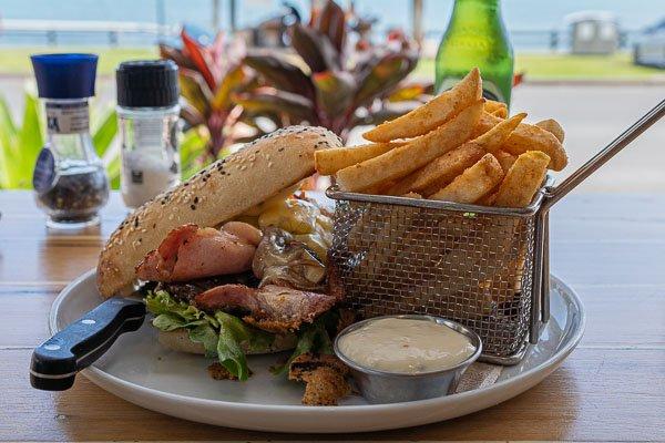 steak sandwich at Fat Frog Beach Cafe, Cannonvale, Whitsundays