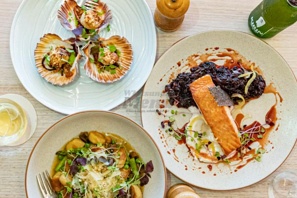 scallops, salmon and gnocchi at Fish D'vine, Airlie Beach