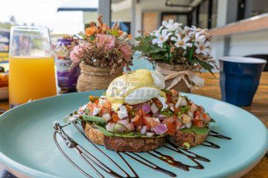 eggs on brushetta from The Hangar Cafe & Bar, Airlie Beach, Whitsundays