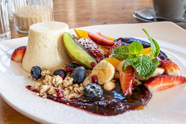 breakfast panna cotta, at Fat Frog Beach Cafe, Airlie Beach