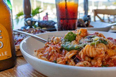 Vegetarian Pasta, Served at La Marina Xpress, Cannonvale, Whitsundays,