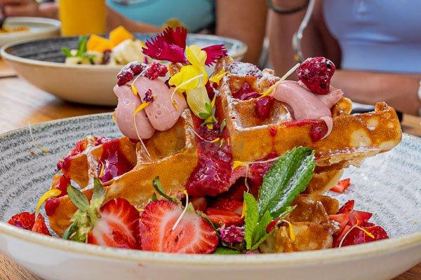breakfast waffles at Paradiso Rooftop Restaurant and Bar, Airlie Beach Main Street, Whitsundays
