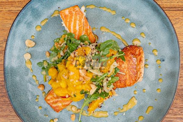 atlantic salmon fillet at Paradiso Rooftop Restaurant and Bar, Airlie Beach Main Street, Whitsundays