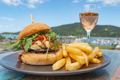 Vegetarian Halloumi burger from Anchor Bar, Airlie Beach, Whitsundays