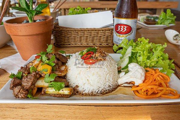 Rice - Vietnamese Shaking Beef at d'Viet House, Airlie Beach, pool restaurant