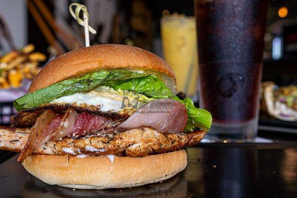 Caesar Burger, served at Little Vegas Burger & Bar, Airlie Beach, Whitsundays