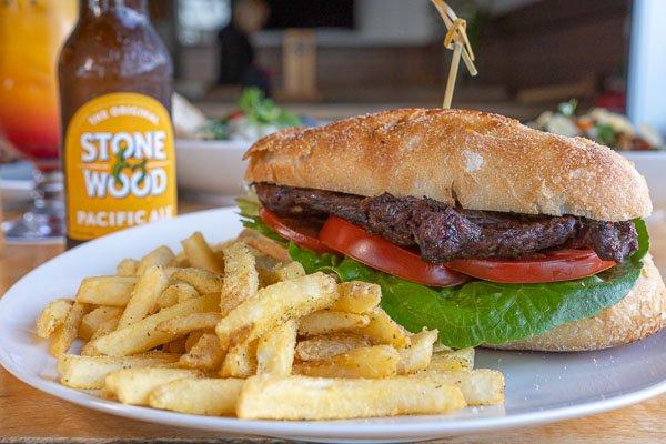 Steak Sandwich at Northerlies Beach Bar & Grill, Airlie Beach