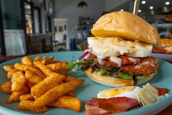 Caesar Burger served at The Hangar Cafe & Bar, Flametree, Whitsundays, Australia