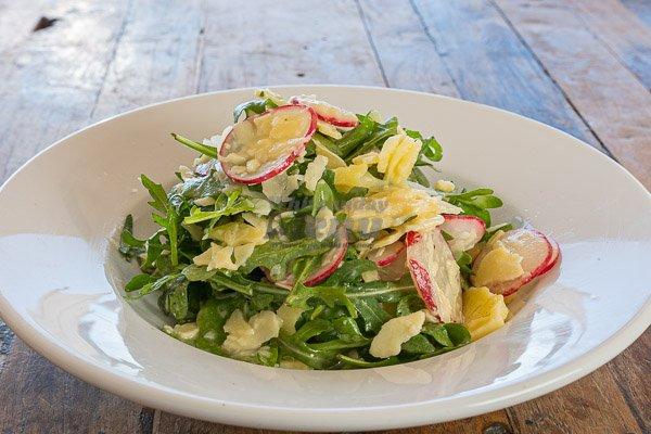 rocket parmesan salad at anchor bar pool restaurant, airlie beach