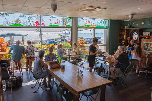 inside cafe at Fat Frog Beach Cafe, Cannonvale, Whitsundays