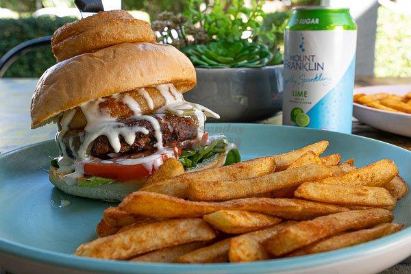 vege burger served at The Hangar Cafe & Bar, Flametree, Whitsundays, Australia