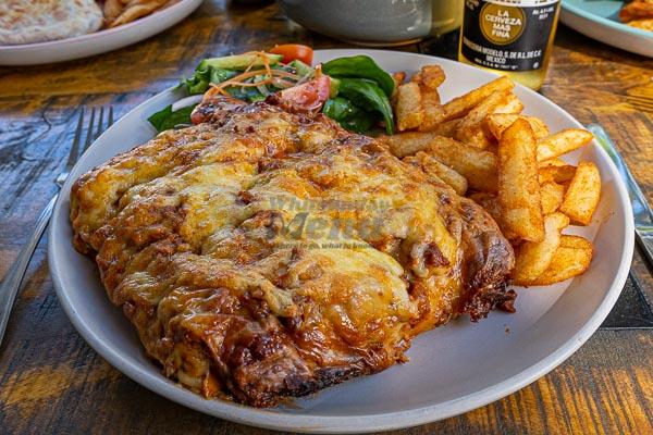 lasagne served at The Hangar Cafe & Bar, Flametree, Whitsundays, Australia