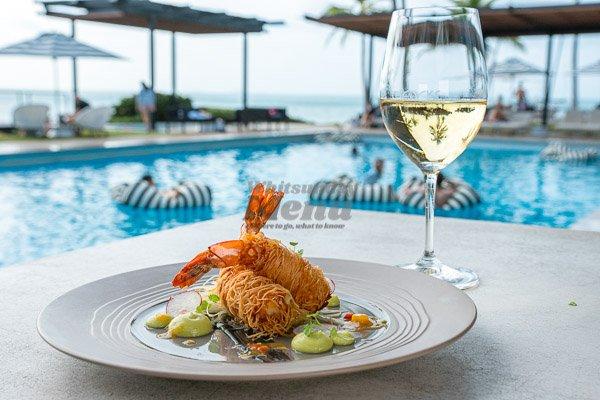 Kataifi Prawns by the pool at The Rocks Bar & Restaurant, Coral Sea Resort, Airlie Beach, Whitsunday Region