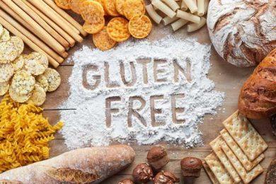 Gluten free written in between gluten items of food