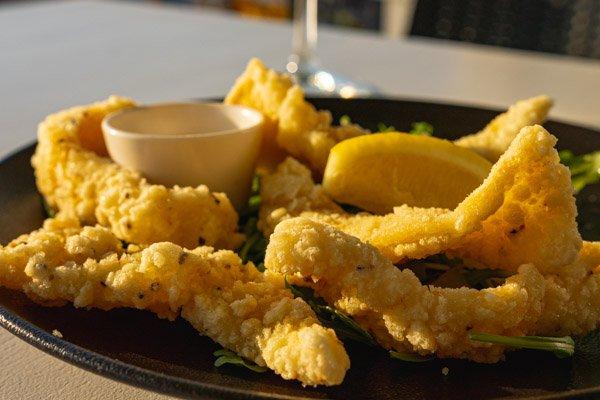 citrus marinated calamari, garden bar bistro, airlie beach