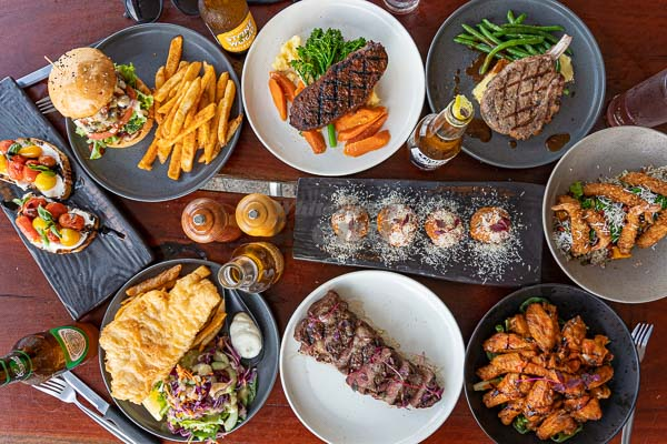 Steak and Chips and other food, served at KC's Bar & Grill, Airlie Beach, Whitsundays