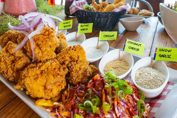 Korean Fried Chicken with various seasonings, Served at The Red Plate, Airlie Beach, Whitsundays