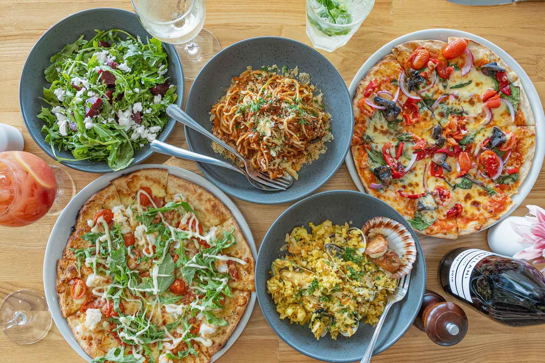 pasta, pizza and salads at Sorrento restaurant bar, Whitsunday Region