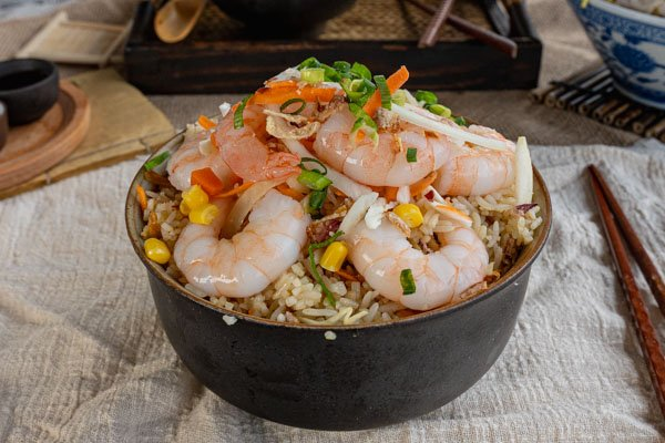 king prawn fried rice in a bowl at Noodle and Rice Airlie Beach, Whitsunday Region, Australia