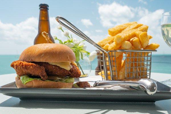 chicken burger, served at Sorrento Restaurant & Bar, Airlie Beach, Queensland